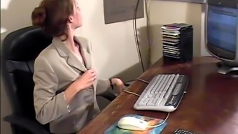 Magnificent secretary strips and flashes her nice ass in the office