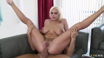 Tattooed blonde Lylith Lavey, wearing cop uniform, enjoys anal sex