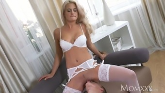 MOM Milf in white lingerie and suspenders dominates and fuck