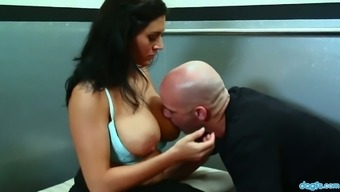 Juggy seductress Raylene rides big penis reverse and face to face