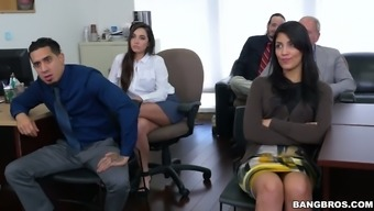 Nice sexy secretary gets bent over the table and properly fucked right away