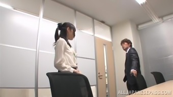 Magnificent Japanese cowgirl moaning as she gets screwed at the office