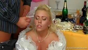 Horny bride cock sucker gets cum in her mouth before drilled at her weddind