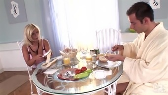 Horny blonde Lucy Love needs to feel a dick while having a breakfast