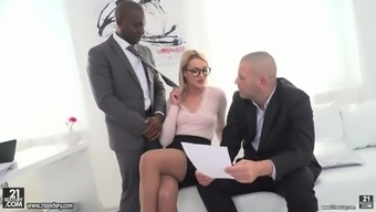 Whorish female boss Cherry Kiss hooks up with black and white co-workers