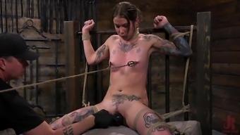 Tiny Tattoo-ed Pain Whore Krysta Kaos Tormented in Rope Bond