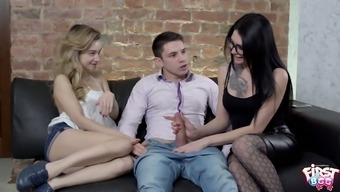 Russian brunette in glasses Erika Bellucci takes part in crazy 3some sex for the first time