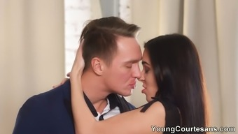 Sensual blowjob performed by Kerry Cherry ends up as steamy analfuck