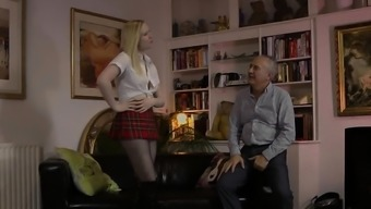 UK schoolgirl tugging and riding oldmans dick