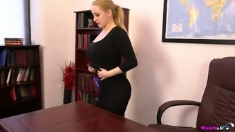 Ample breasted secretary Rachael C gets naked and teases with her full natural assets