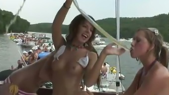 Sex hungry petite hookers in bikinis gets dirty on the ship