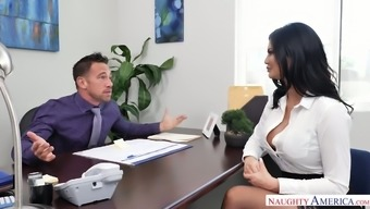 Horn-mad office slut with giant boobies Jasmine Jae is eager to work on dick