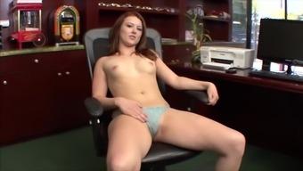 Blue eyed redhead teen Cammie Fox has her round ass cum covered