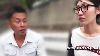 Korean Porn Girl in Glasses in Japan FucKED