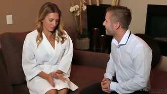 Incredible huge boobed Ukrainian masseuse Mila Brite gives a good titjob