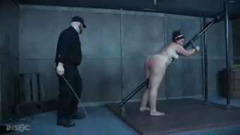 Submissive fat pale slut Mimosa gets tied up and treated like shit by dominant dude