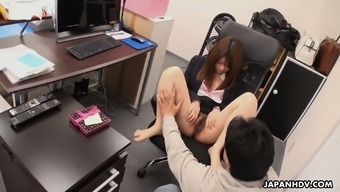 Pretty shy Japanese office girl Kimoko Tsuji gets teased with toy and real cock