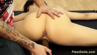 real flexi Lucy Doll gets dildo fucked