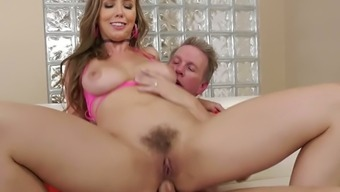 Busty American cowgirl Lena Paul gets her anus drilled well