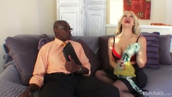 Whore wife Sarah Vandella is fucked by BBC under husband's nose