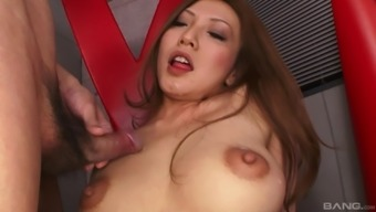 Wild Japanese hotness playing with a vibrator and pleasing a cock