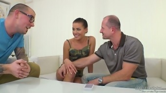 Adventurous Czech girl with small tits Eveline Dellai tries out MMMF