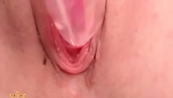 Teen toys pussy close up
