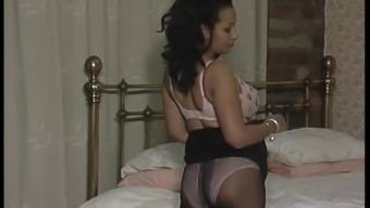 Busty MILF upskirt in pantyhose