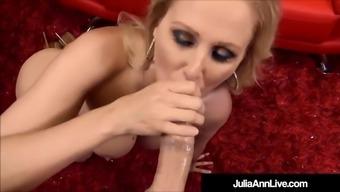big boobed blonde milf julia ann strokes & blows your dick!