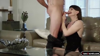 Tranny Natalie Mars sucks asslicked and bareback doggystyled