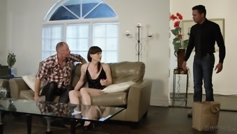 Horny guy talks shemale Natalie Mars into banging with him