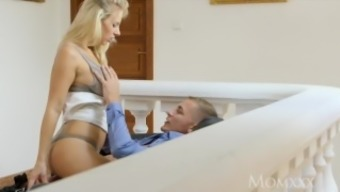 MOM Lovely legs blonde MILF licks and sucks balls before romantic fuck