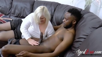 Crazy sexy blonde mature enjoying interracial hardcore sex and blowjob
