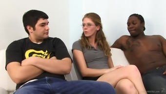 Skinny Blonde Fucks A Black Cock While Her Man Watches