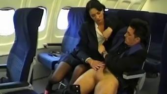 Air hostess fantasy fuck up the ass