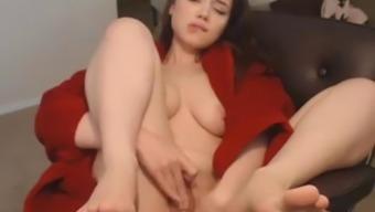 Beautiful Brunette Opens Legs and Pleasure Pussy
