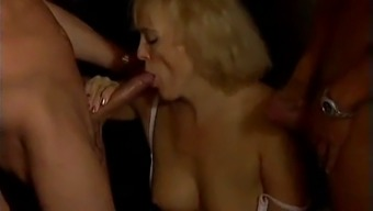 Drunk german granny fucked by two bartenders