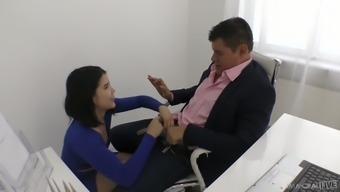 Naughty bootyful brunette secretary Lady Dee uses vibe while being fucked