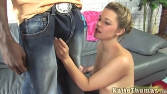 Sweet blonde babe Katie Thomas rides and throats a big black cock