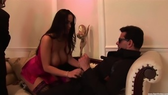 Angel Cassidy and Carmella Bing want to share long cock on the stair