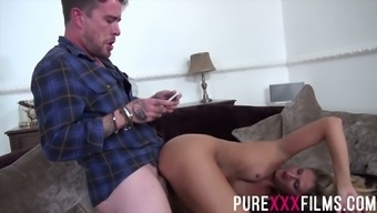Lustful blonde Eva Johnson seduces husband's brother and gives him a blowjob