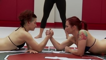 After a match Ingrid Mouth wants to punish her friend with large strapon