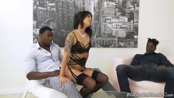 Two black dudes fuck anus and pussy of Korean porn model Saya Song