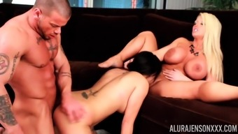 Alura Jenson getting fucked on the couch by a friend in a threesome