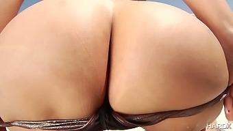 Curvy Asian goddess Kaylani Lei gives a titijob before hardcore ass hole fuck