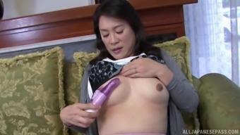 Hoshino Yurie masturbates alone before her friend helps her to cum