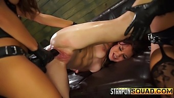 Lesbian Marina Angel gets her pussy destroyed with Esmi Lee's dildo
