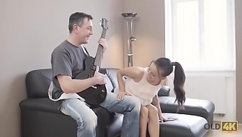 OLD4K. Dad puts guitar aside and takes care of Tina Walker shaved pussy
