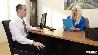 Aggressive MILF has her way with nervous employee