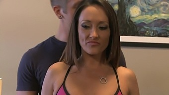 Hot milf Michelle Lay seduces young stud to bang her hard